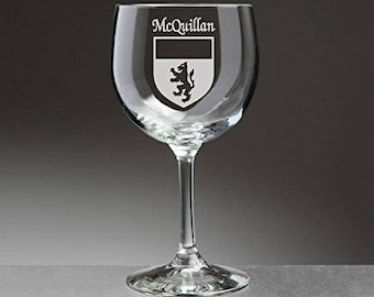 McQuillan Irish Coat of Arms Red Wine Glasses - Set of 4 (Sand Etched)