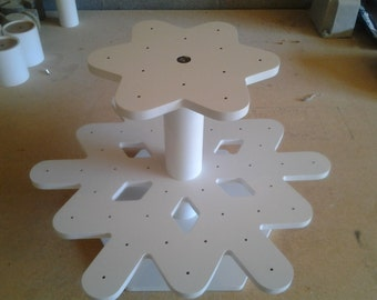 Snowflake Cake Pop Stand.  Smaller 2 Tier.  Holds 54 Cake Pops. Original design and totally unique!