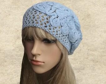 Cotton slouchy beret, Summer slouchy tam, Blue lace knit hat, Slouch beanie summer, Crochet cotton beret, Womens beret summer, Sun lady hat