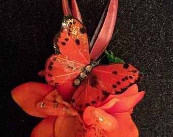 Rockabilly Pinup Tiki Hair Flower Clip  Orange