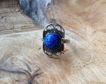 Azurite Silver Ring - Size 9 - Filigree Silver Jewelry -  Antique Silver - Blue Jewelry