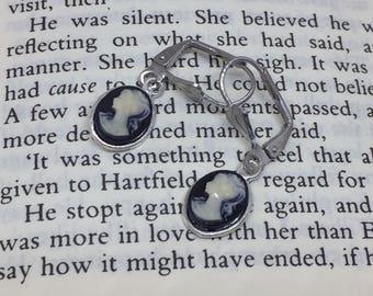 Black Jane Austen Style Silver Cameo Earrings