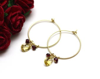Gold Hoop Earrings with Citrine and Garnet Gemstones   Minimal, Feminine, Bridal Jewelry   Gift for Woman   Bridesmaid Gift   Made by Azki