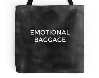 Sac bagage émotionnel, drôle sac fourre-tout, sac en toile, citation de sac, sac à bandoulière noir, typographie, durable, cadeau Geek, cadeau pour elle, Yoga