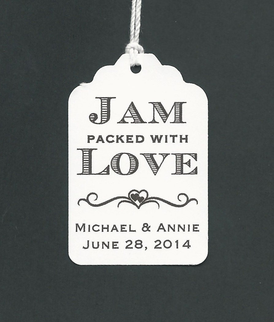 50 JAM packed with Love Personalized Handmade Tags-Wedding