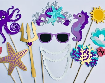 16 Nautical Photo Booth Props -Marine Party Prop Set - Happy as a Clam, Mermaid, Under The Sea, Crown, Corals, Gold Foil