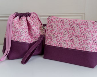 Liberty project bag in either a zipped top of drawstring style, both are perfect for small making projects or as a bag for cosmetics