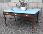 Vintage Farmhouse Dining Table Blue Farrow and Ball Lulworth Blue 89