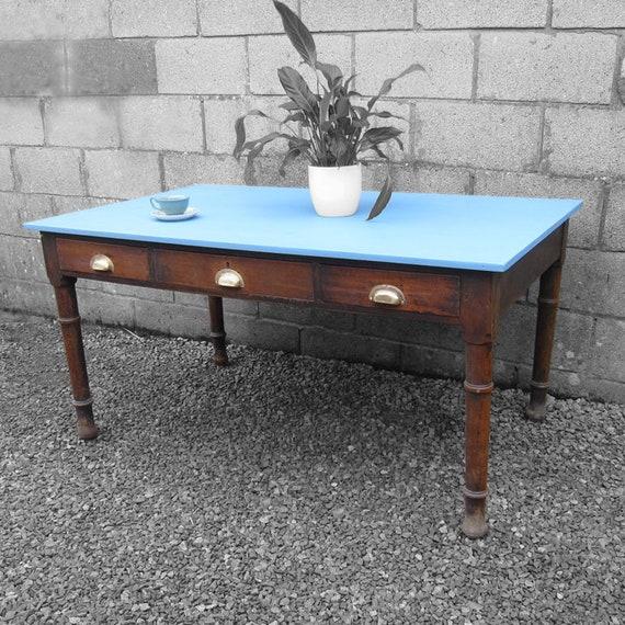 Vintage Farmhouse Dining Table Blue Farrow and Ball Lulworth Blue 89