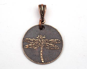 Copper dragonfly pendant, small round flat jewelry, optional necklace, 25mm