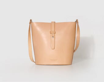 SALE Yellow Handmade Leather Bag, Bucket Bag, Handbag, Cross Body Bag, Shoulder Bag with Vegetable Tanned Leather
