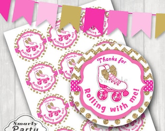 """Girl Roller Skate Thank You Party Tags Stickers Birthday Printable 2.5"""" Circles PDF - Instant Download"""