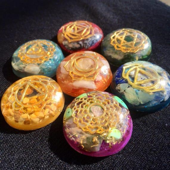 Orgonite® Chakra Set Gold- Healing Reiki Chakra Energy- Crystal Set- Sacred Geometry- Chakra Stones- Grounding Chakra Orgonite