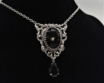 Elegant Gothic Necklace Silver Plated Filigree Faceted Black Glass Stone Vintage Drop