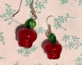 Red Apple Glass and Silver Earrings