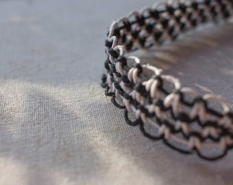 20 inch black and white hemp necklace