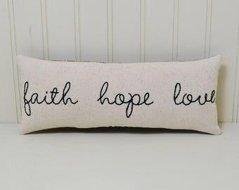 Faith Hope Love Decorative Pillow, Christian Accent Pillow, Religious Decor, Hand Embroidered Shelf Sitter, 1 Corinthians, Black Tan Plaid