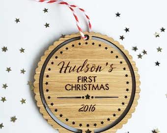 Baby's First Christmas Bamboo Ornament - Boys