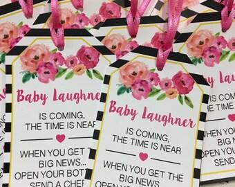 Baby Shower Favor Tags for Mini Wine Bottles - Wine Bottle Tags - Personalized Wedding Wine Bottle Favors - Black Floral - Set of 12