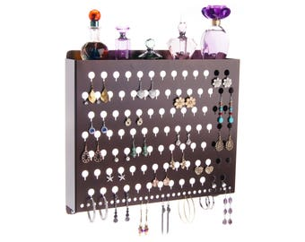 Earring Holder Wall Mount Jewelry Organizer Hanging Closet Storage Rack Display with Shelf - Hannah Earring Holder (4 colors)