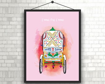 L'amour C'est L'amour- Indian Rickshaw Art // Indian Autorickshaw Printable Art // Colorful Indian Rickshaw Wall Art