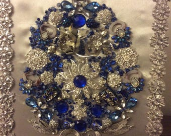 Framed vintage jewelry Christmas trees