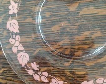 Vintage Anchor Hocking Saucers Pink Gooseberry Floral - Set of 6