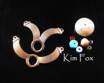 Winged or V Centerpiece for a necklace in golden bronze designed by Kim Fox