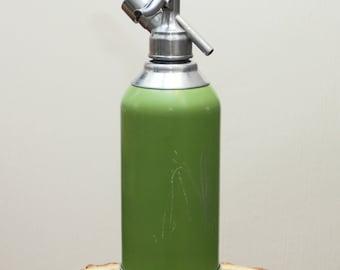 Vintage Seltzer bottle Metal Green Siphon Aluminum seltzer bottle Soda siphon bottle Vintage barware Seltzer water bottle Seltzer siphon