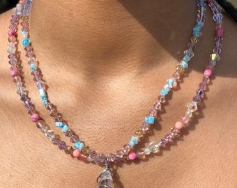 Handmade Aura Quartz Necklace, Genuine Gemstone boho chic, Spring and summer fashion, One of a kind #006