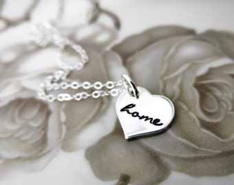 Home is where the Heart Is - Heart Necklace - Home Necklace - Sterling Silver Heart - Script Font - Gift for Daughter - Delicate Jewelry