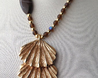 Triple Shell Pendant Necklace