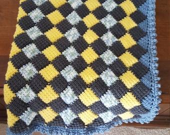 Entrelac Boy's Baby Blanket