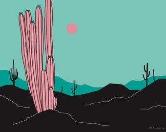 Retro Cactus Print; Teal Sky