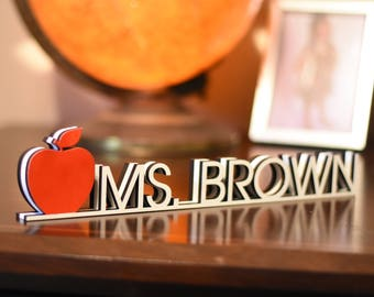 Teacher Desk Name Plate - Desk Name Plate - Gift For Her - Teacher Gift Work Decor - Personalized Name Tag - Unique Desk Plate Coworker Gift
