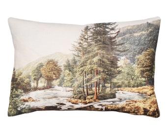 Linen cushion, Creek scenery design
