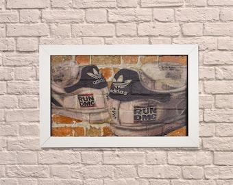 Industrial Adidas White Frame Brick Wall Graffiti Style Artwork. Graffiti Style Art. Steampunk & 3D Ceramic Brick Panels and Framed. UK MADE