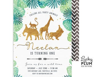Gold Safari Birthday Invitation / Jungle Birthday Invitation / Wild Birthday Invitation / Zoo First Birthday Boy Gold SF01