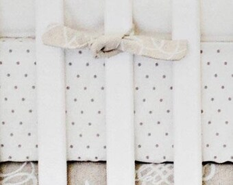 Khaki & Aqua Suzani Picket Fence Crib Baby Bedding | Crib Sheet