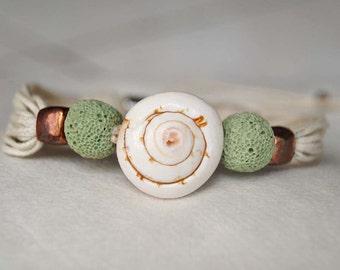 Boho Shell Bracelet, Lava Stone Bracelet,  Shamballa Bracelet 'Lagoon'