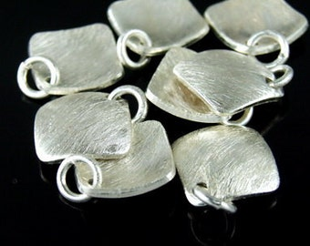 7KH-036 thai karen hill tribe handmade silver 3 brush curved square disc charm