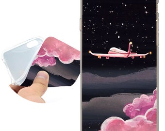 Coque Pink Space Aircraft Clear Soft TPU Silicone Case for iPhone X 8 7 6 6S Plus SE 5S 5 Cover for iPod Touch 6 5 Case.