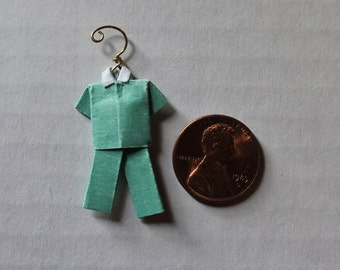 """Miniature Origami Shirt and Pants with hanger aqua teal blue with polka dot shirt (about 1 1/4"""" x 3/4"""")"""