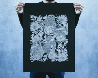 Bats and Night Blooming Cactus Open Edition Black and White Screen Printed Poster