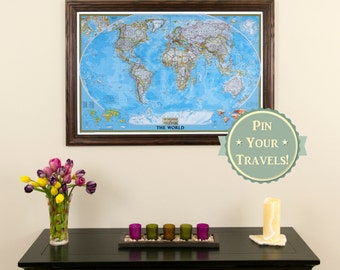 personalized classic world push pin travel map with pins and frame paper anniversary gift push pin travel map unique anniversary gift