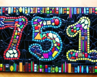 """CUSTOM Made Mixed Media Mosaic House Number Sign / Number Plaque - 'Wild & Funky Style' - 12""""x24"""""""