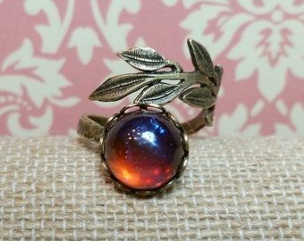 Dragons Breath Ring, Red Dragons Breath Mexican Opal, Dragons Breath Jewelry, Wrap Ring, Brass, Adjustable Ring, Boho Wrap Ring, Red Ring