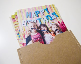 Photo Sleeves - 4x6 Stitched Photo Sleeves - Set of 8 - Brown or White