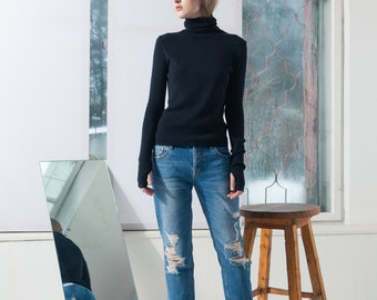 Black turtleneck  Black pullover  Black turtleneck sweater  Slim fit black turtleneck  Minimalist sweater  Merino wool black sweater  ADA