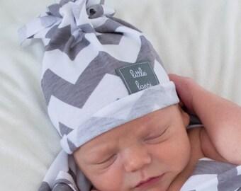 grey and white Chevron HAT baby hat. beanie. cotton jersey knit stretch. lightweight summer hat fringe hat